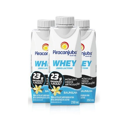 Whey Zero Lactose Baunilha Piracanjuba contendo 3 unidades de 250ml cada