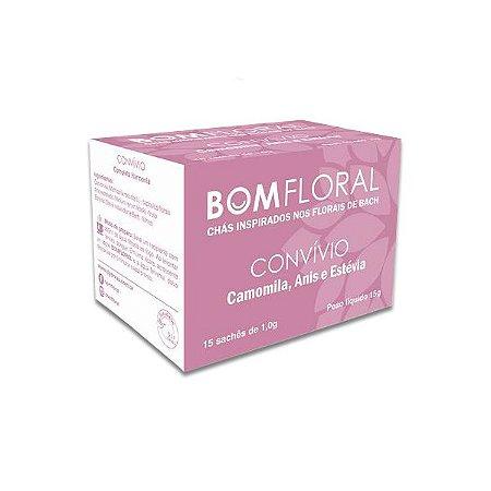 Chá Bom Floral Convívio - Camomila, Anis e Estévia Qualy Ervas contendo 15 sachês de 1g cada