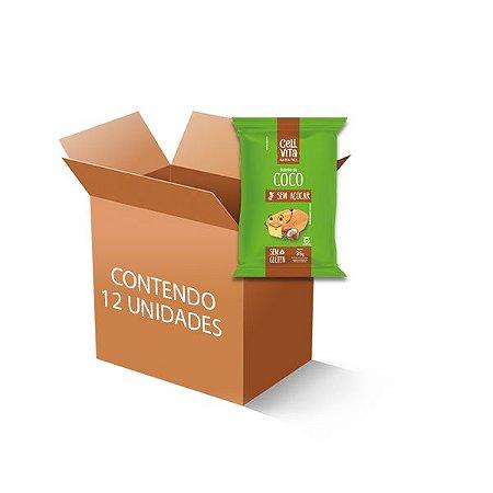 Bolinho Zero Glúten, Zero Açúcar Coco Celivita contendo 12 unidades de 35g cada
