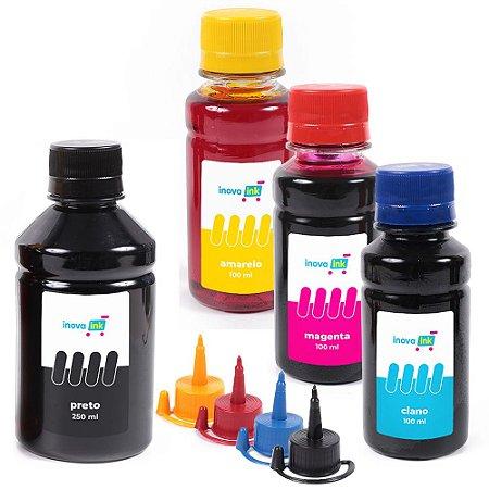 Kit 4 Tintas para Epson EcoTank L375 Black 250ml coloridas 100ml Inova Ink