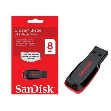 Pen Drive 8gb Cruzer Blade preto SanDisk 1 Un