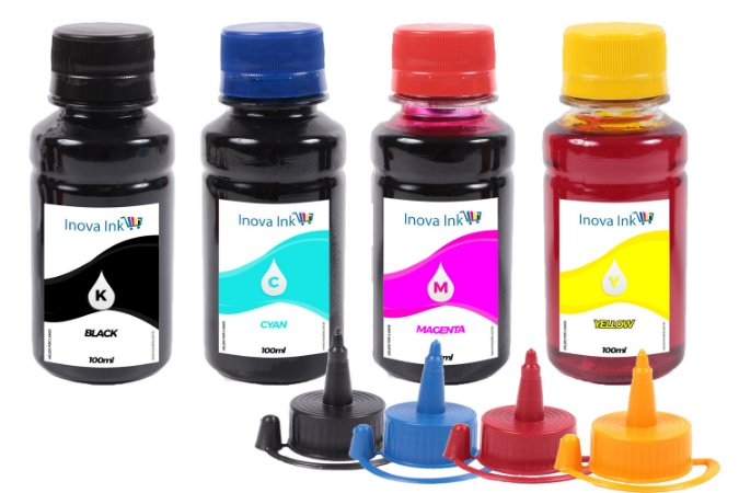 Kit 4 Tintas para Epson EcoTank L1300   L-1300 CMYK 100ml Inova Ink