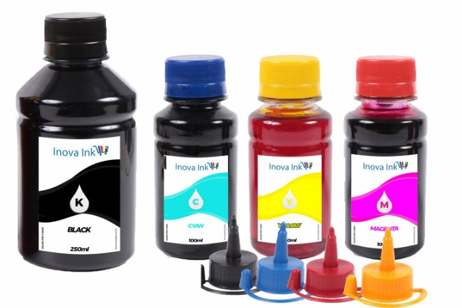 Kit de Tintas para Cartucho HP 954 | 954XL  250ml Black 100ml Coloridas Inova Ink