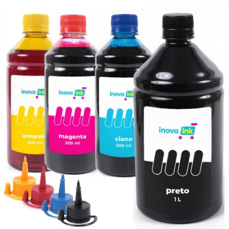 Kit 4 Tintas Para Epson EcoTank L380 Black 1 Litro 500ml Coloridas Inova Ink