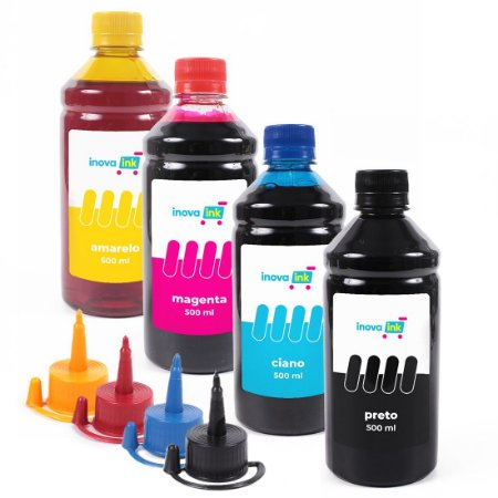 Kit 4 Refil Tinta Para Epson L120 L200 L210 L220 L355 L365 L375 L380 L395 2000ml Inova Ink