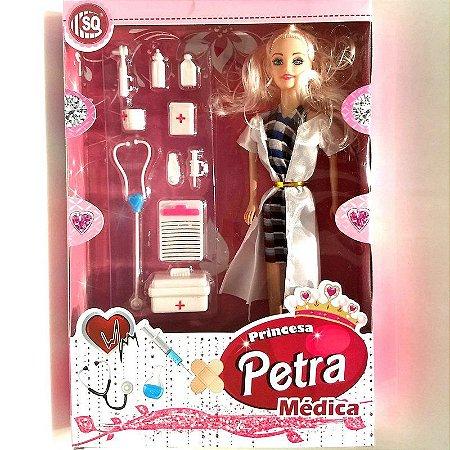 Boneca PETRA - MEDICA com estetoscópio injeção e seringa kit de primeiros socorros e acessórios