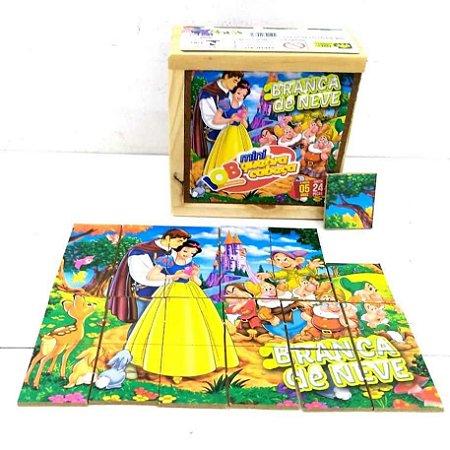 Brinquedo Educativo Jogo Pedagógico IOB Madeira - Quebra Cabeça BRANCA DE NEVE - Caixa de Madeira - Mini