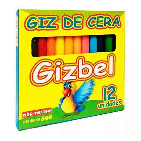 Giz de cera fino grande com 12 cores GIZBEL