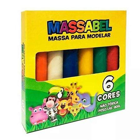 Massa de modelar - Massinha MASSABEL com 6 cores