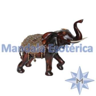 Elefante Marrom com manto dourado Médio