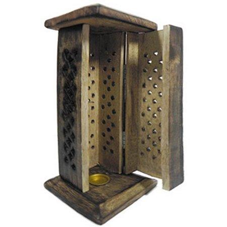 Incensário peruano torre de madeira pequeno com entalhe