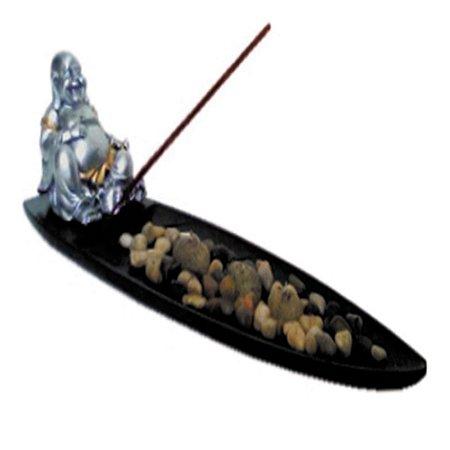 Incensário Folha com Pedras Buda