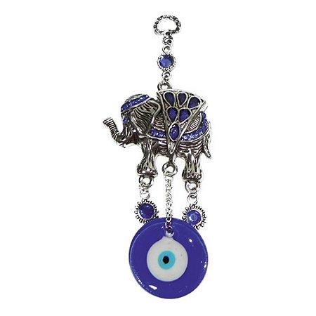 Móbile Elefante Azul em metal e Olho Grego de vidro