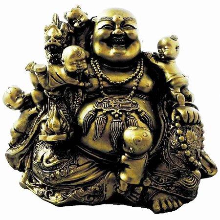 Buda Dourado com Crianças em Resina