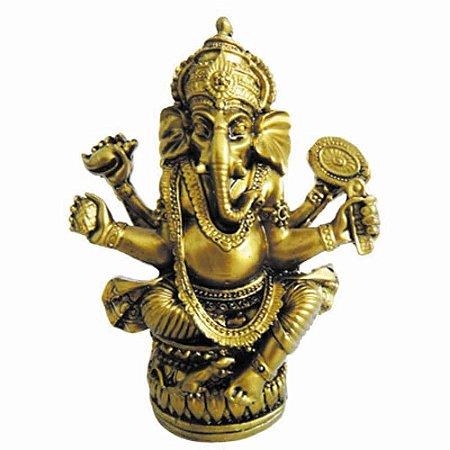 Deus Hindu Ganesha dourado da Fortuna de resina