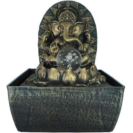 Fonte Ganesha e flor de Lótus com Luz de LED e Bola de Vidro