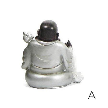 Buda Sorridente Prata e Marrom
