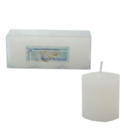 Kit 3 Velas Perfumadas de 1 dia - Aroma Rosa Branca