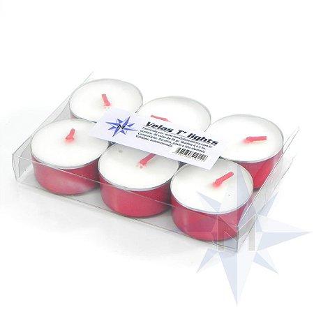 Vela Tlight Branca Com Base Vermelha Com 6