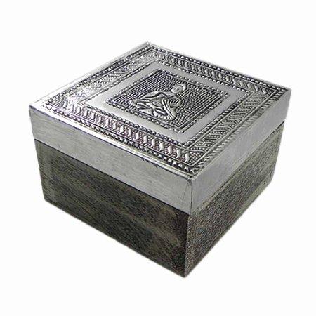 f70c7e95580 Caixa em madeira tampa revestida em Alumínio - Mandala Esotérica