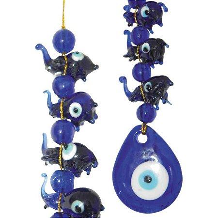 Mobile de Elefantes de vidro Azul e Olho Grego
