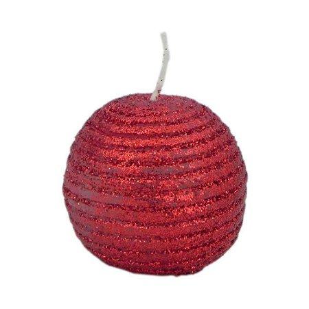 Vela Natalina Bola Vermelha com Purpurina