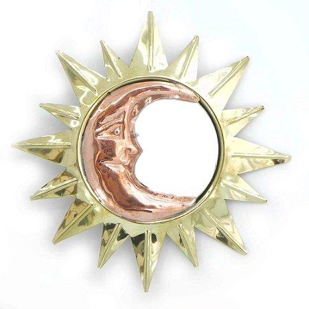 Espelho Sol e lua dourado M