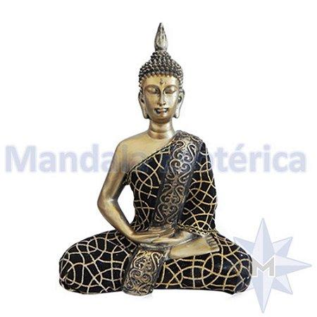 Buda Médio dourado revestido com Tecido