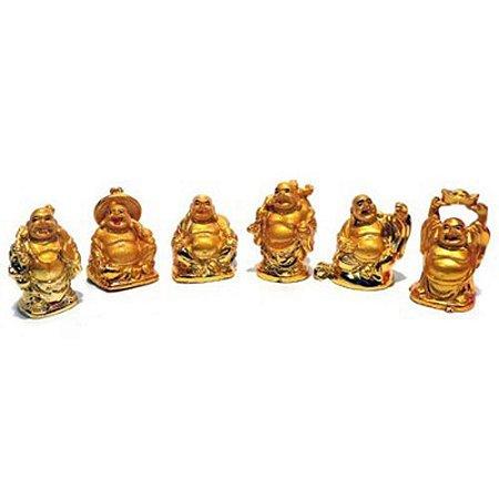 Caixa com 6 Budas da sorte Dourado em resina