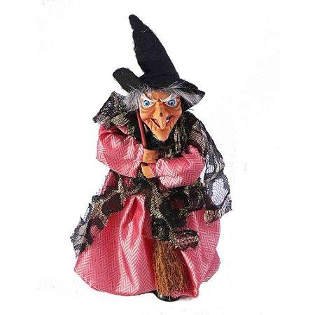Bruxa tecido cetim rosa