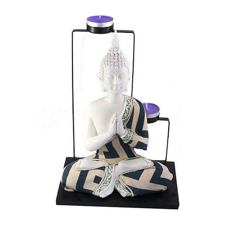 Porta Vela Buda Branco com tecido