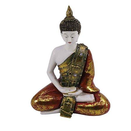 Buda vermelho com ouro velho