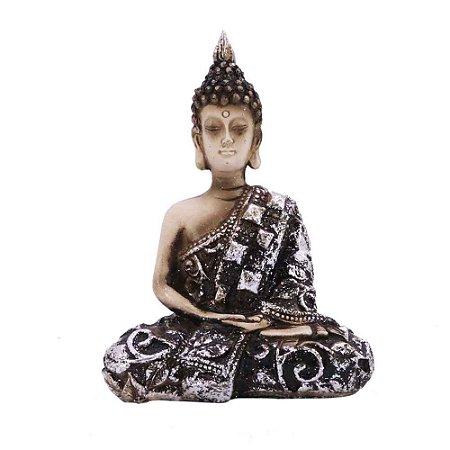 Buda bege com marrom, detalhes brilhantes