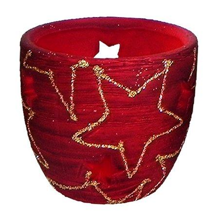 Porta Vela Cerâmica Vermelho