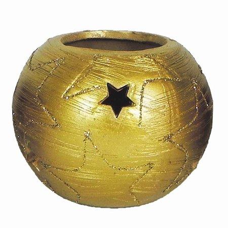 Porta vela cerâmica Dourado