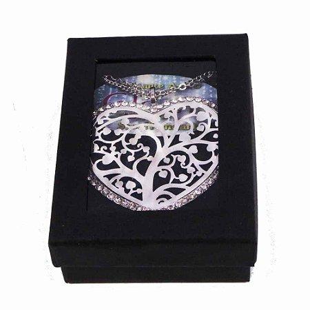Gargantilha com formato de Coração com pedras de strass