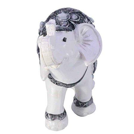 Elefante Branco com cinza e strass
