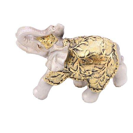 Elefante Prata e Dourado Floral Médio
