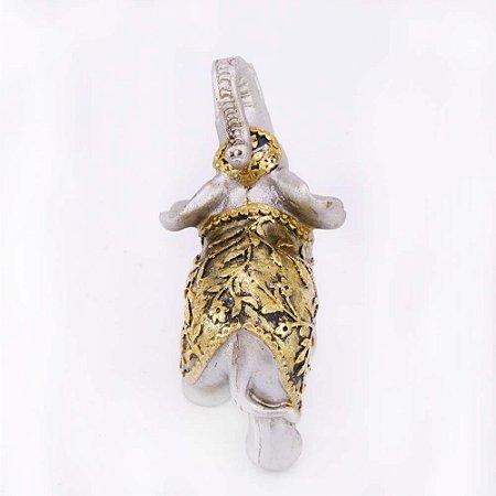 Elefante Prata e Dourado Floral Pequeno