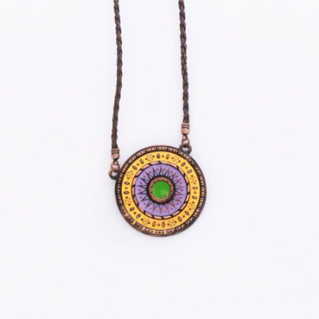 Gargantilha de Mandala - Laranja, lilás e verde