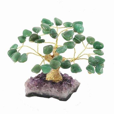 Árvore de pedra quarto verde - Base: Drusa Ametista