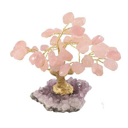 Árvore de pedra quarto Rosa - Base: Drusa Ametista