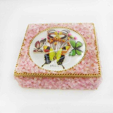 Caixa Artesanal de Madeira com Pedras Rosa
