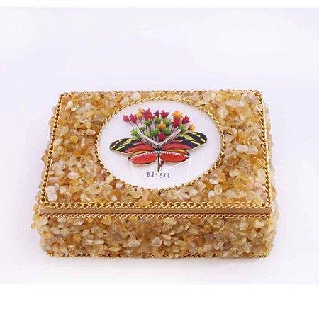 Caixa de Madeira com Pedra Citrino, Artesanal