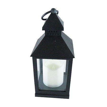 Porta Vela LED lanterna farol - preto