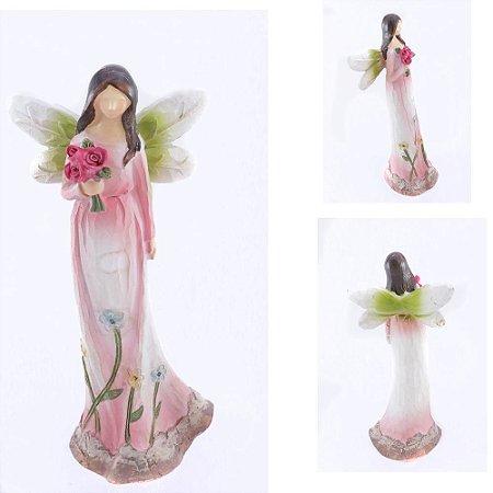 Anjo sem Rosto com Flores - Rosa