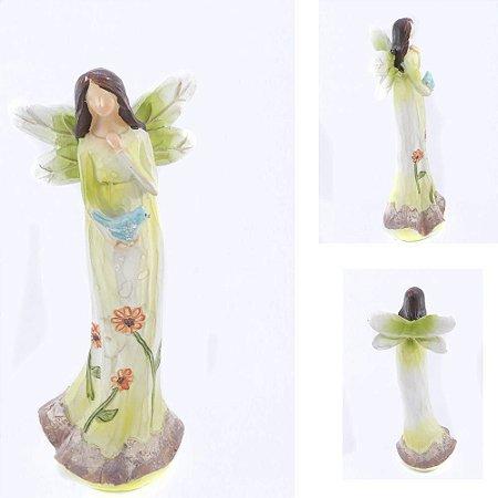 Anjo sem Rosto com pássaro - Verde