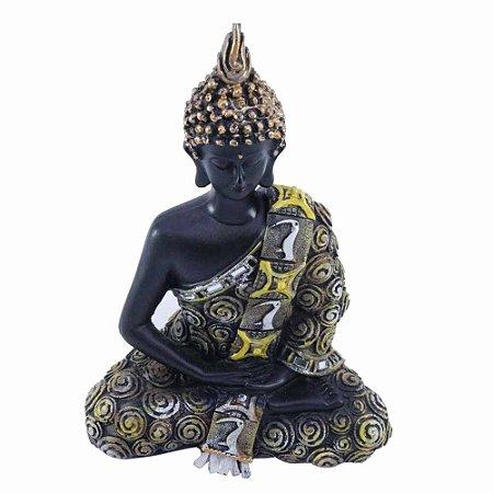 Buda de Resina Meditando com Detalhes em Dourado