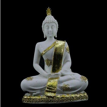 Buda Meditando de Resina com Pó de Mármore