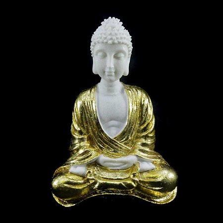 Buda Dourado sentado de Resina com Pó de Mármore